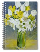 Daffodils And White Tulips In An Octagonal Glass Vase Spiral Notebook