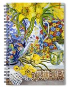 Daffodils Antique Jugs Plates Textiles And Lace Spiral Notebook