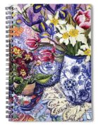 Daffodils Tulips And Iris In A Jacobean Blue And White Jug With Sanderson Fabric And Primroses Spiral Notebook