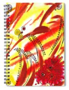 Dancing Lines And Flowers Abstract Spiral Notebook
