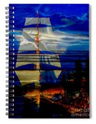 Dark Moonlight With Sails And Seagull Spiral Notebook