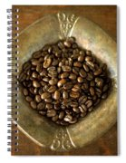 Dark Roast Coffee Beans And Antique Silver Spiral Notebook