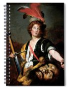 David With The Head Of Goliath, C.1636 Oil On Canvas Spiral Notebook