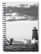 Davit And Lighthouse On A Breakwater Spiral Notebook