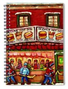 Decarie Hot Dog Restaurant Cosmix Comic Store Montreal Paintings Hockey Art Winter Scenes C Spandau Spiral Notebook
