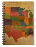 Declaration Of Independence Word Map Of The United States Of America Spiral Notebook