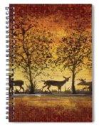 Deer At Sunset On Damask Spiral Notebook