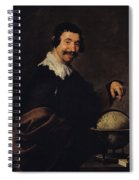 Democritus, Or The Man With A Globe Oil On Canvas Spiral Notebook
