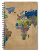 Denim Map Of The World Jeans Texture On Worn Canvas Paper Spiral Notebook