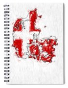 Denmark Painted Flag Map Spiral Notebook