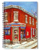 Depanneur Surplus De Pain Point St Charles Montreal Winterscene Paintings Cspandau Originals Prints  Spiral Notebook