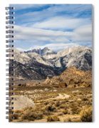 Desert View Of Majestic Mount Whitney Mountain Peaks With Clouds Spiral Notebook