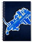 Detroit Lions Football Team Retro Logo License Plate Art Spiral Notebook