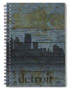 Detroit Michigan City Skyline Silhouette Distressed On Worn Peeling Wood Spiral Notebook
