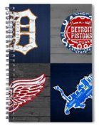 Detroit Sports Fan Recycled Vintage Michigan License Plate Art Tigers Pistons Red Wings Lions Spiral Notebook