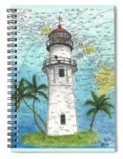 Diamond Head Lighthouse Hi Nautical Chart Map Art Spiral Notebook