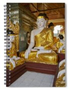 different sitting Buddhas in a circle in SHWEDAGON PAGODA Spiral Notebook