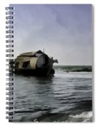 Digital Oil Painting - A Houseboat Moving Placidly Through A Coastal Lagoon Spiral Notebook