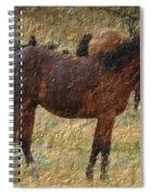 Digital Oil Painting Horses Spiral Notebook
