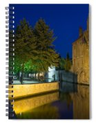 Dijver Canal At Night  Spiral Notebook