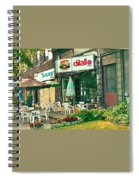 Dilallo Burger Diner Paintings Originalclassic Vintage Burger Joint St Henri St Catherine Cityscene  Spiral Notebook