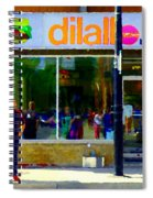 Dilallo Burger Notre Dame Ouest And Charlevoix  Montreal Art Urban Street Scenes Carole Spandau Spiral Notebook