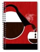 Diner Coffee Pot And Cup Red Pouring Spiral Notebook
