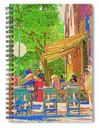 Dinner On The Terrace Le Murphy Boire Et Manger French Bistro Montreal Cafe Street Scene Spiral Notebook