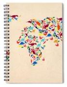 Dinosaur Map Of The World  Spiral Notebook