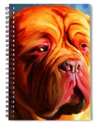 Vibrant Dogue De Bordeaux Painting On Blue Spiral Notebook