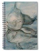 Dolphins Duo Underwater Art Cathy Peek Spiral Notebook