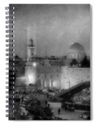 Dome Of The Rock -- Black And White Spiral Notebook