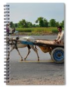Donkey Cart Driver And Motorcycle On Pakistan Highway Spiral Notebook