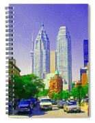 Downtown Core Flatiron Building And Cn Tower Toronto City Scenes Paintings Canadian Art Cspandau Spiral Notebook