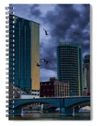 Downtown Grand Rapids Michigan By The Grand River With Gulls Spiral Notebook
