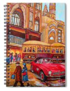 Downtown Montreal-streetcars-couple Near Red Fifties Mustang-montreal Vintage Street Scene Spiral Notebook