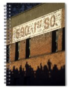Downtown Seattle With Silhouetted Runners On Brick Wall Early Mo Spiral Notebook
