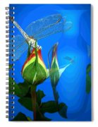 Dragonfly And Bud On Blue Spiral Notebook
