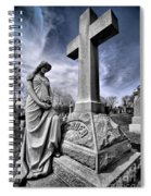 Dramatic Gravestone With Cross And Guardian Angel Spiral Notebook