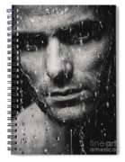 Dramatic Portrait Of Man Wet Face Black And White Spiral Notebook