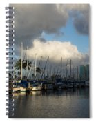Dramatic Tropical Storm Light Over Honolulu Hawaii  Spiral Notebook