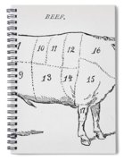 Drawing Of A Bullock Marked To Show Eighteen Different Cuts Of Meat Spiral Notebook