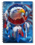Dream Catcher - Eagle Red White Blue Spiral Notebook