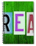 Dream License Plate Letter Vintage Phrase Artwork On Green Spiral Notebook