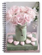 Shabby Chic Pink Roses - Romantic Valentine Roses Hearts Floral Prints Home Decor - Romantic Roses  Spiral Notebook
