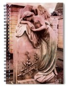 Dreamy Surreal Beautiful Angel Art Photograph - Angel Mourning Weeping At Gravestone  Spiral Notebook