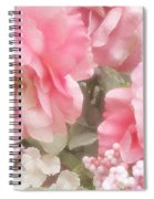 Dreamy Pink Roses, Shabby Chic Pink Roses - Romantic Roses Peonies Floral Decor Spiral Notebook