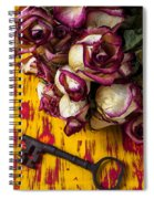 Dried Pink Roses And Key Spiral Notebook