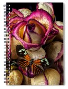 Dried Rose And Butterfly Spiral Notebook