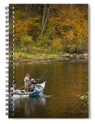 Drift Boat Fishermen On The Muskegon River Spiral Notebook